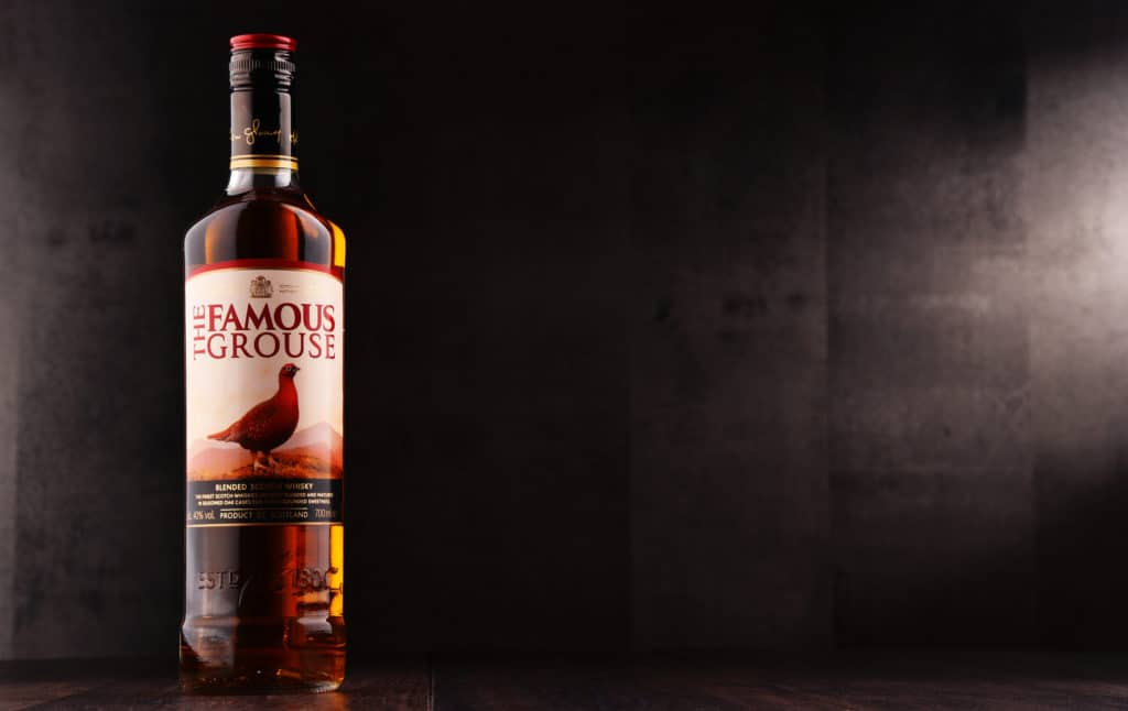 Bottle of The Famous Grouse, a brand of blended Scotch whisky, first produced by Matthew Gloag & Son in 1896, and currently owned by The Edrington Group