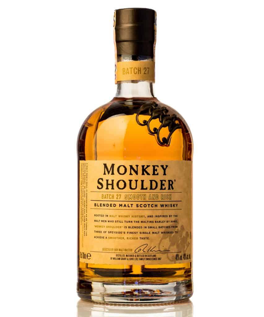 bottle of MONKEY SHOULDER blended malt scotch whisky