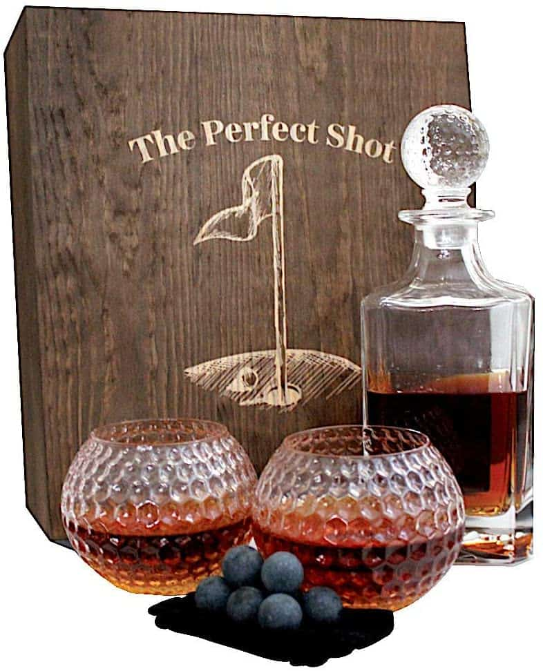 Golf Ball Whiskey Glass and Decanter Set
