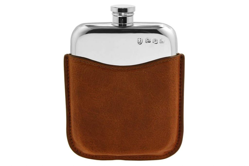 English Pewter Company 6oz Pewter Liquor Hip Flask with Luxury Brown Leather Pouch