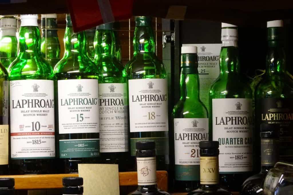 Laphroaig Scotch Selection at a Pub on Isle of Islay, Scotland